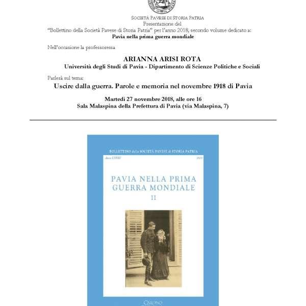 Presentazione Bollettino della Società Pavese di Storia Patria 2018