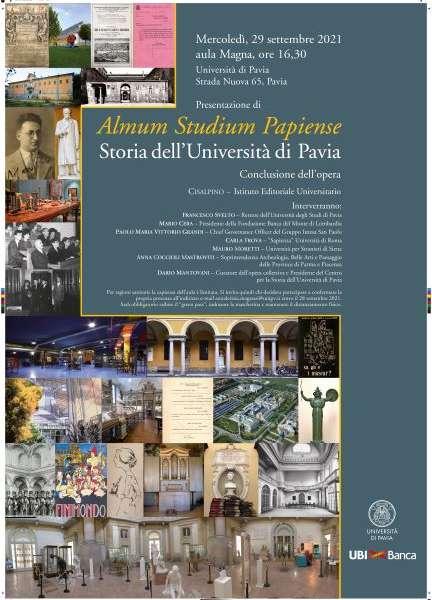 PRESENTAZIONE DEL VOLUME CONCLUSIVO DI ALMUM STUDIUM PAPIENSE. Storia dell'Università di Pavia